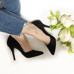 Call it Spring black suede heels